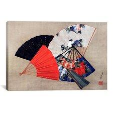 'Five Fans' by Katsushika Hokusai Graphic Art on Canvas