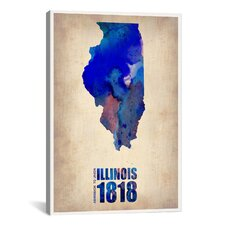 "Naxart ""Illinois Watercolor Map"" Graphic Art on Canvas"