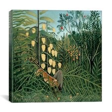 """""""In a Tropical Forest Struggle between Tiger and Bull"""" Canvas Wall Art by Henri Rousseau"""