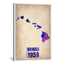 'Hawaii Watercolor Map' by Naxart Painting Print on Canvas