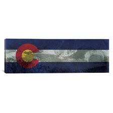 Colorado Flag, Pikes Peak with Grunge Panoramic Graphic Art on Canvas