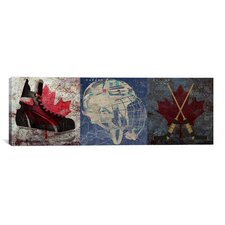 Canada Hockey, Ice Skates, Mask, Sticks 3 Piece Painting Print on Canvas Set