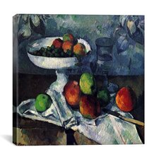"""Compotier, Glass and Apples"" by Paul Cezanne Painting Print on Canvas"