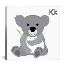 Kids Children K is for Koala Graphic Canvas Wall Art