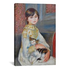 'Julie Manet with Cat 1887' by Pierre-Auguste Renoir Painting Print on Canvas