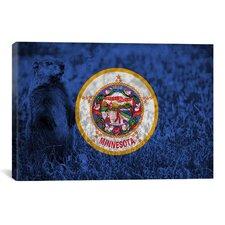 Minnesota Flag, Grunge Groundhog Graphic Art on Canvas