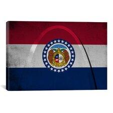 Missouri Flag, Grunge Gateway Arch Graphic Art on Canvas