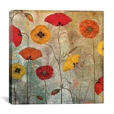 """Dancing Poppies"" by Color Bakery Painting Print on Wrapped Canvas"