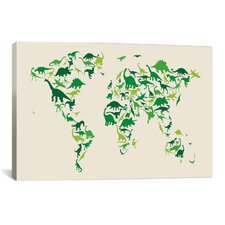 'Dinosaur Map of the World' by Michael Tompsett Graphic Art on Canvas