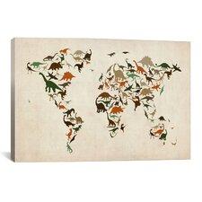 'Dinosaurus Map of theWorld III' by Michael Tompsett Graphic Art on Canvas
