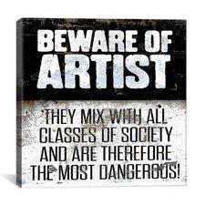Modern Beware Textual Art on Canvas
