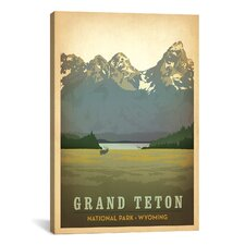 'Grand Teton National Park, Wyoming' by Anderson Design Group Vintage Advertisement on Canvas