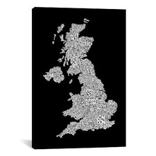 'Great Britain Cities Text Map II' by Michael Tompsett Textual Art on Canvas
