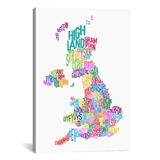 'Great Britain County Text Map III' by Michael Tompsett Textual Art on Canvas