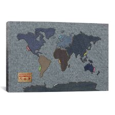 'Denim Map of the World' by Michael Tompsett Graphic Art on Canvas