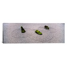 Panoramic Moss on Three Stones in a Zen Garden, Washington Park, Oregon Photographic Print on Canvas