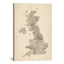 'Great Britain Music Map II' by Michael Tompsett Textual Art on Canvas