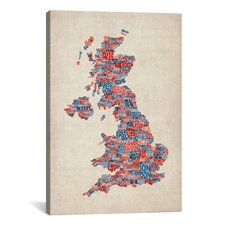 'Great Britain UK City Text Map III' by Michael Tompsett Textual Art on Canvas