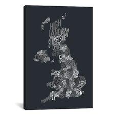 'Great BritainCounty TextMap II' by Michael Tompsett Textual Art on Canvas