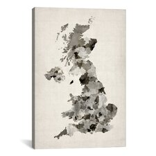 'Great BritainUKWatercolorMap' by Michael Tompsett Graphic Art on Canvas