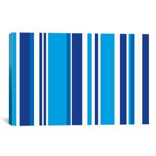 Striped Cobalt Baby Blue Graphic Art on Canvas