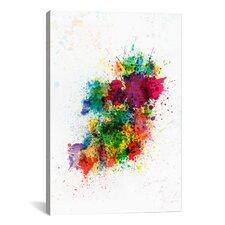 "Michael Tompsett ""Ireland Map Paint Splashes"" Painting Print on Canvas"