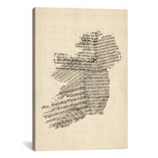 'Ireland Sheet Music Map' by Michael Tompsett Graphic Art on Canvas