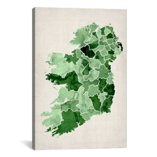 'Ireland Watercolor Map' by Michael Tompsett Graphic Art on Canvas