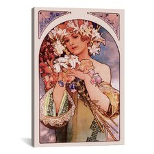 'Flower' by Alphonse Mucha Painting Print on Canvas