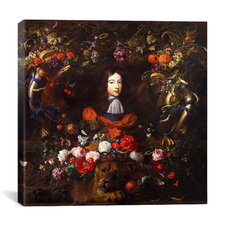 """Flower Garland with Portrait of William III of Orange"" Canvas Wall Art by Jan Davidsz de Heem"