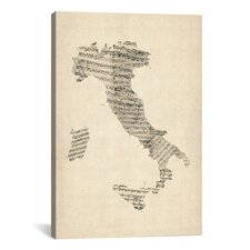 'Italy Sheet Music Map' by Michael Tompsett Graphic Art on Canvas