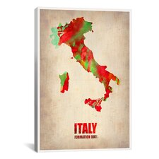 Naxart Italy Watercolor Map Graphic Art on Canvas