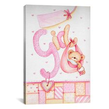 Kids Children It's a Girl with Teddy Bear Painting Print Canvas Wall Art