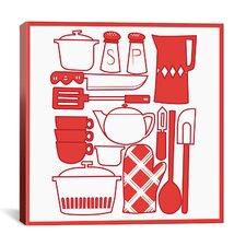 Kitchenware Collage Graphic Art on Canvas