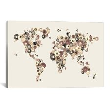 'Flower World Map (Sepia)' by Michael Tompsett Graphic Art on Canvas