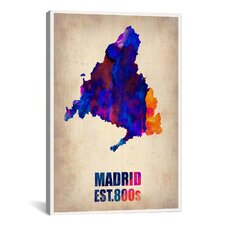 'Madrid Watercolor Map' by Naxart Graphic Art on Canvas