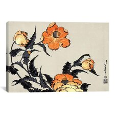 'Poppies' by Katsushika Hokusai Graphic Art on Canvas