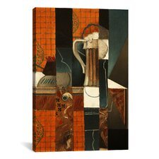 'Playing Cards and Glass of Beer' by Juan Gris Painting Print on Canvas