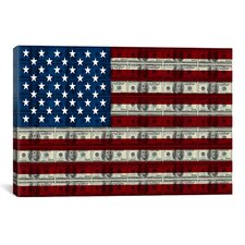 American Flag One Hundred Dollar Bill Graphic Art on Canvas