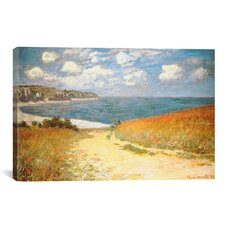 'Path Through the Corn at Pourville' by Claude Monet Painting Print on Wrapped Canvas