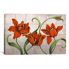 'Parrot Tulips' by John Zaccheo Painting Print on Canvas