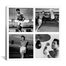 Muhammad Ali Practicing on Punching Bag Photographic Print on Canvas