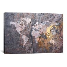 World Map on Stone Background Graphic Art on Canvas