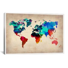 Naxart 'World Watercolor Map I' Painting Print on Canvas