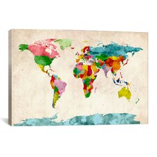 World Map Watercolors by Michael Thompsett Graphic Art on Canvas