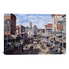 'Rush Hour: Los Angeles, Spring St Looking North' by Stanton Manolakas Painting Print on Canvas