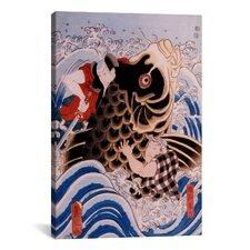 Japanese Samurai Wrestling Giant Koi Carp Woodblock Graphic Art on Canvas