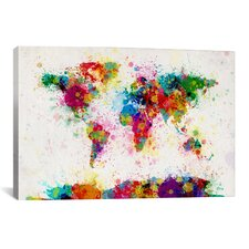 'World Map Paint Drops' by Michael Tompsett Painting Print on Wrapped Canvas