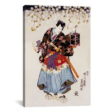 Japanese Samurai with Two Swords Woodblock Painting Print on Canvas