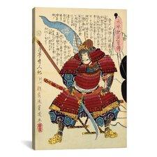 Japanese Samurai with Naginata Woodblock Graphic Art on Canvas